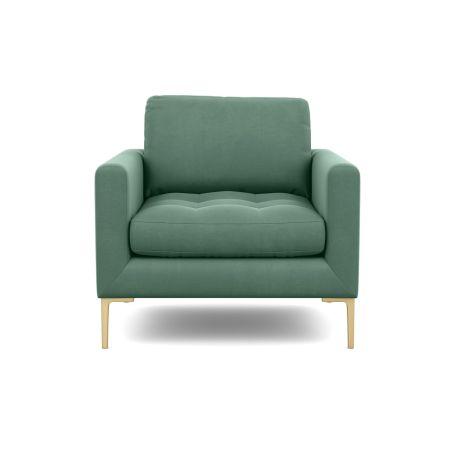 Eton Armchair Smart Velvet Jade Brass Feet