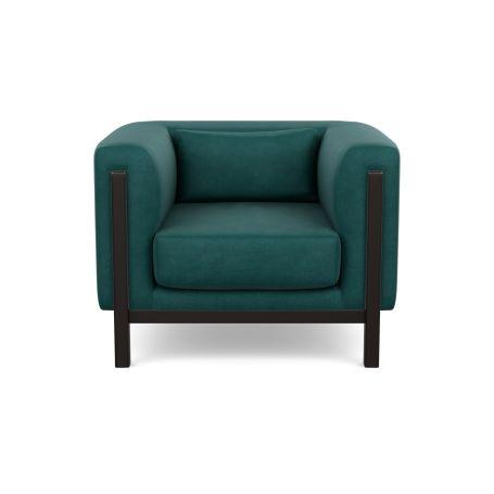 Massimo Armchair Marylebone Velvet Emerald Green Black Ash Feet