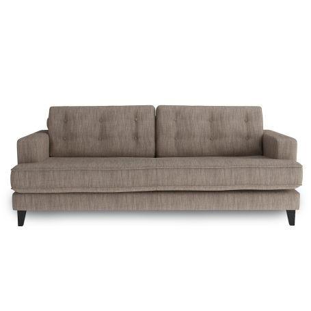 Mistral 3 Seater Sofa Broad Weave Pebble Black Feet