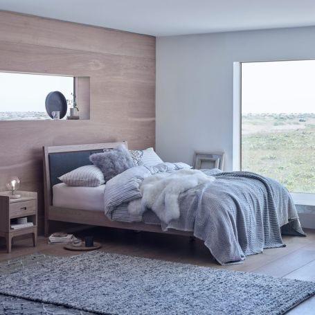 Morten Bed Grey Upholstered Headboard