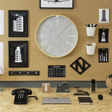 Mr Architect Wall Clock Pale Wood Light Grey Large