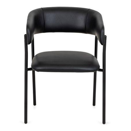 Neo Chair Black Leather Black Leg