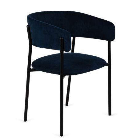 Neo Velvet Chair Indigo Blue Black Leg