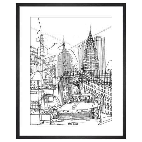 New York by David Bushel Framed Print