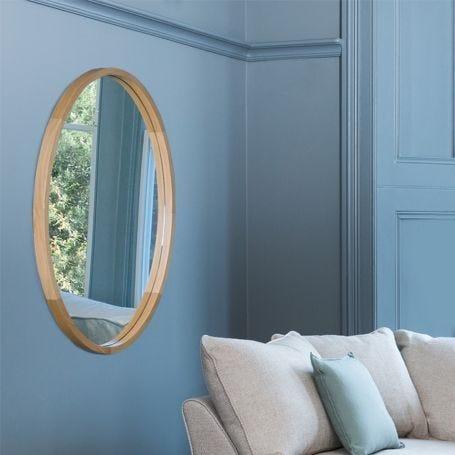Oval Mirror Solid Oak