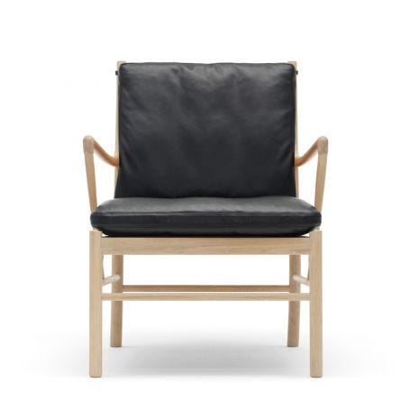 OW149 Colonial Armchair with Soaped Oak Frame in Leather Thor 301 Black