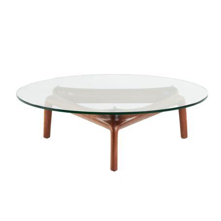 Pascal Coffee Table Walnut Clear Glass
