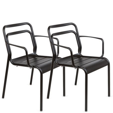 Petra Pair of Outdoor Armchairs Dark Grey