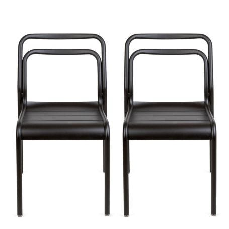 Petra Pair of Outdoor Side Chairs Dark Grey