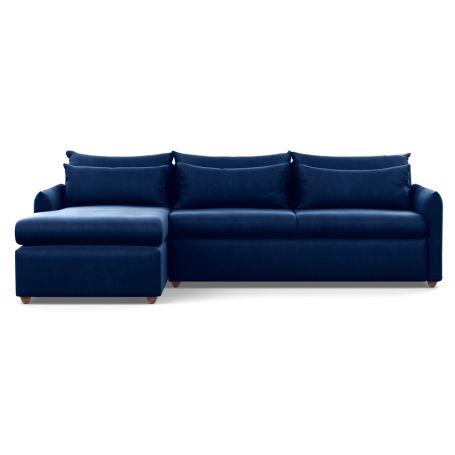 Pillow Large Left Hand Corner Chaise Velvet Midnight Chestnut Stain Feet