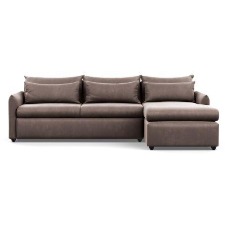 Pillow Large Right Hand Corner Chaise Velvet Mink Black Feet