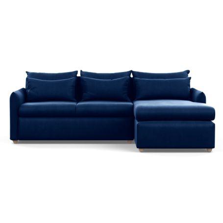 Pillow Medium Right Hand Corner Chaise Velvet Midnight Natural Feet