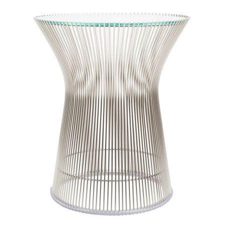 Platner Side Table Polished Nickel Base Clear Glass Top