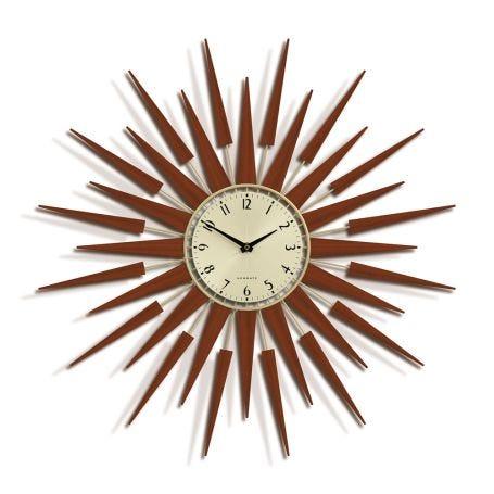Pluto Starburst Gold Wall Clock