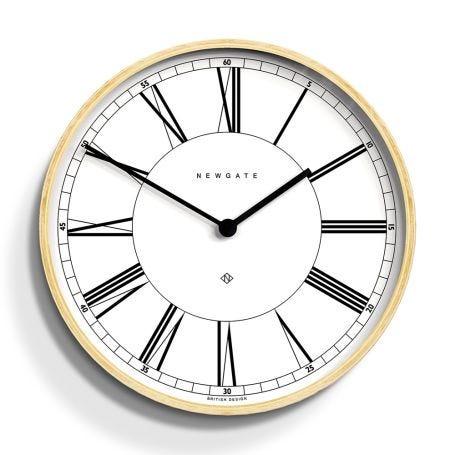 Mr Architect Wall Clock Pale Wood White
