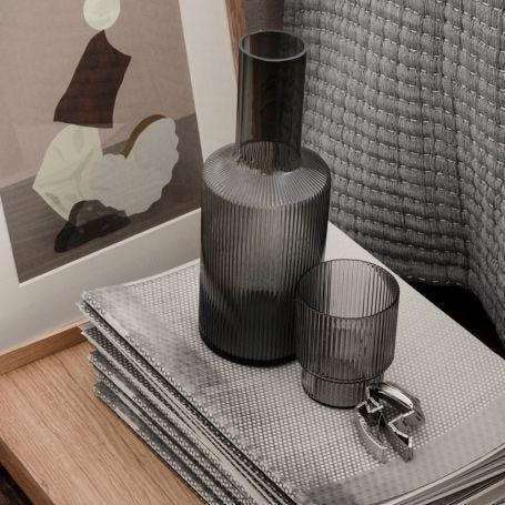 Ripple Smoked Grey Tumbler Glass Set of 4