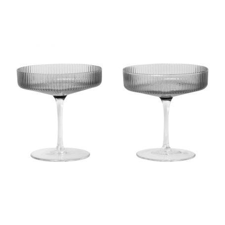 Ripple Smoked Grey Champagne Saucer Set of 2