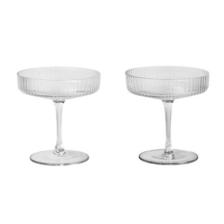 Ripple Clear Champagne Saucer Set of 2