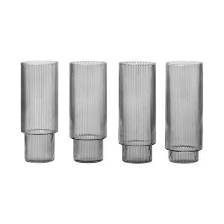 Ripple Smoked Grey Long Drink Glasses Set of 4