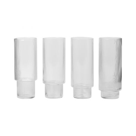 Ripple Clear Long Drink Glasses Set of 4
