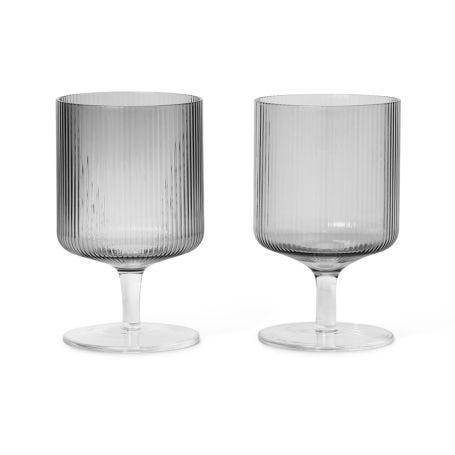 Ripple Smoked Grey Wine Glass Set of 2