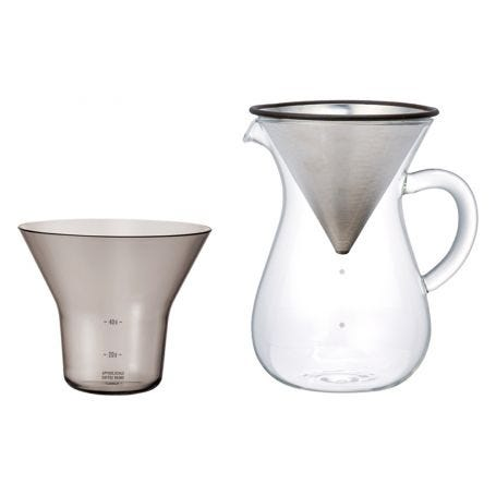 Coffee carafe set includes jug, stainless steel filter and plastic measure