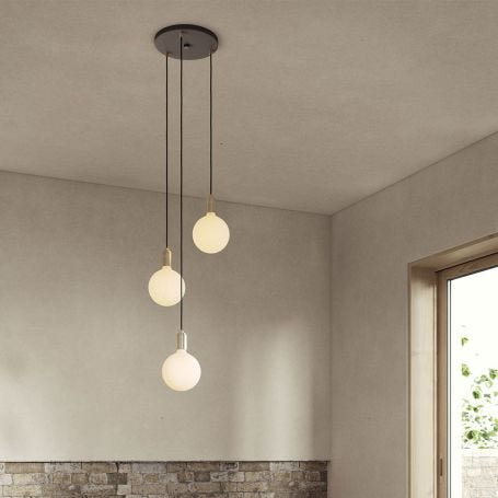 Small Black Canopy With 3 Pendants and 3 Sphere IV Bulbs
