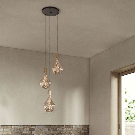 Small Black Canopy With 3 Pendants and 3 Voronoi II Bulbs