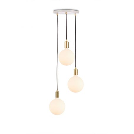 Small White Canopy With 3 Pendants and 3 Sphere IV Bulbs