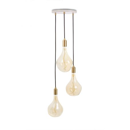 Small White Canopy With 3 Pendants and 3 Voronoi II Bulbs