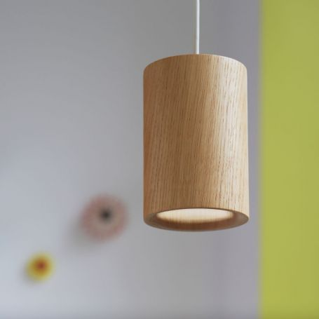 Solid Pendant Light Cylinder Wood
