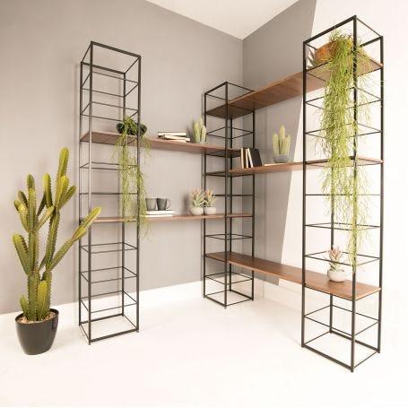 Tower Shelving Set of 5 Shelves Walnut