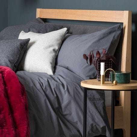 Washed Cotton Bed Linen Charcoal