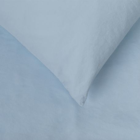 Washed Cotton Sky Blue Fitted Sheet Single