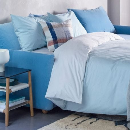 Washed Cotton Bed Linen Sky Blue