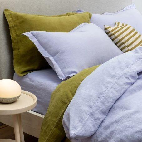 Washed Linen Olive Bed Linen