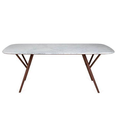 Anais Dining Table Marble Top Walnut Frame 200cm