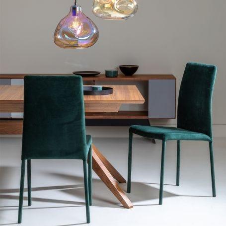 Bronte Pair Of Dining Chairs Plush Velvet Green