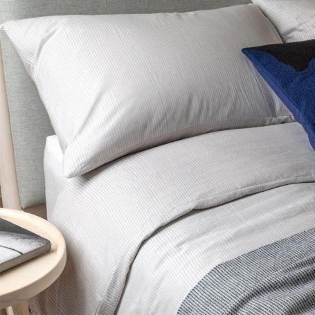 Reversible Stripe Bed Linen Grey