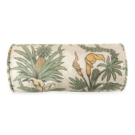 Velvet Bolster Cushion Botanize Heritage Palm Green