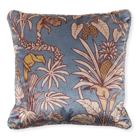 Velvet Square Cushion Botanize Heritage 50x50cm Whale Blue