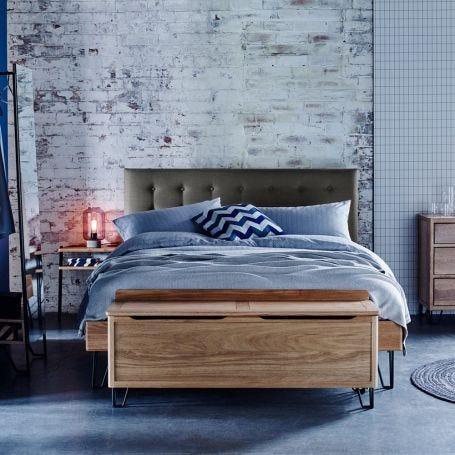 Brunel Bed Fabric Headboard Smoke Grey