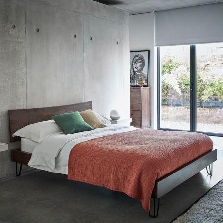 Brunel Bed Wooden Headboard Dark Wood
