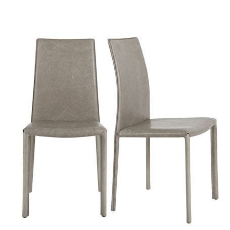 Byron Pair of Dining Chairs Grey Leather