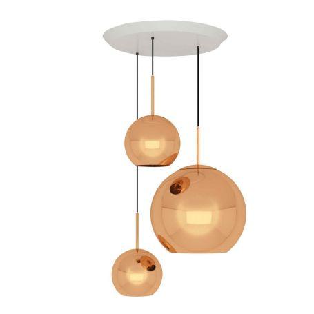 Copper LED Pendant Light System Trio Round Copper