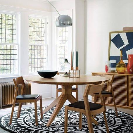 Cross Round Dining Table Oak