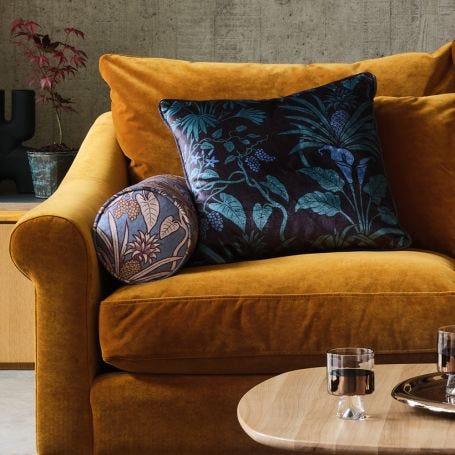Velvet Bolster Cushion Botanize Heritage Whale Blue