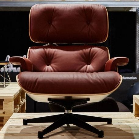 Classic Eames Lounge Chair in Santos Palisander & Brandy Leather
