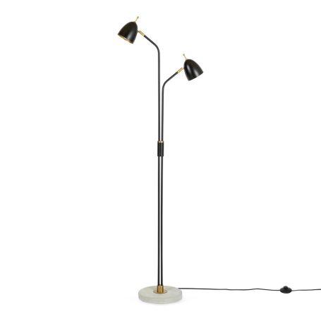 Felix Two Headed Floor Lamp Black Brass