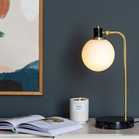 Globe Glass Desk Lamp Black